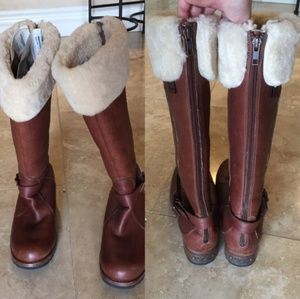 Ugg brown leather boots sheepskin cuff
